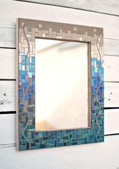 Mosaic Wall Mirror Decorative Mirror Glass Mosaic Mirror Wall-to-wall mirrors When applied to large areas, Mirror Mosaic, Mosaic Wall, Mosaic Glass, Stained Glass, Mirror Bathroom, Bathroom Ideas, Bathroom Beach, Blue Mosaic, Lighted Wall Mirror