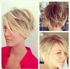 Kaley Cuoco's new pixie cut! Super cute!