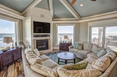 Living room at SURF SONG, a 4 bedroom beach vacation rental ...