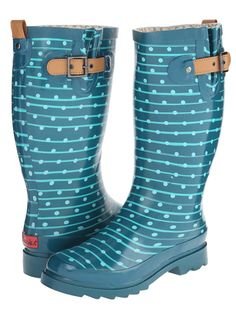 Spread a little sunshine with these rockin' Chooka Striped Dot Rain Boots! Feature easy pull-on construction, printed rubber upper, moisture-absorbing cotton lining, removable padded insole and a t...