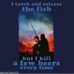 Mountain-Life-Tshirt-Man-Sunset-Fishing-Size-L-Blue-Catch-Release-Fish-Kill-Beer