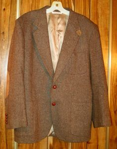 Vintage Hunt Club Brown Wool Tweed Blazer 41 R Chin Strap Elbow Patches Jacket #Fashion #Style #Deal
