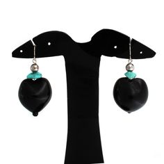 Lee Sands Kukui Nut and Turquoise Dangle Earrings L124 #LeeSands #Dangle