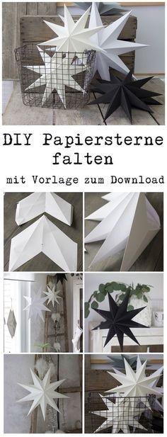 Papiersterne für die Weihnachtsdeko selber falten mit Vorlage zum Download auch für Silhouette Cameo