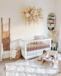Project Nursery - Natural Boho Nursery with pampas grass mobile Design: 2020 Nursery Trends: Naturally Chic Baby Nursery Decor, Baby Decor, Nursery Room, Project Nursery, Boho Nursery, Vintage Nursery Girl, Apartment Nursery, Babies Nursery, Baby Nursery Neutral