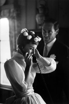 Audrey Hepburn & Mel Ferrer on their wedding day in Bürgenstock, Switzerland, September 25, 1954.