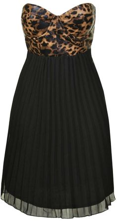 Reverse Leather bustier leopard dress Pleated