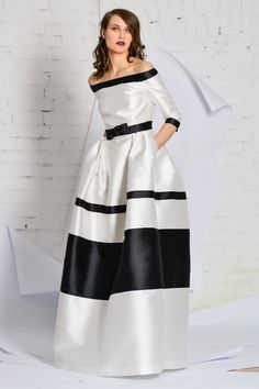 black and white long evening dress mikado