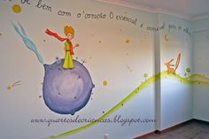 Little Prince mural Little Prince Party, The Little Prince, Baby Boy Rooms, Baby Boy Nurseries, Arctic Decorations, Prince Nursery, Kids Room Murals, School Murals, Having A Baby Boy
