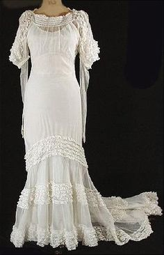 c. 1930's Tiered Net and Lace Wedding Gown with Slip