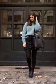 black denim skirt outfit with tights Winter Outfit For Teen Girls, Cute Winter Outfits, Outfits For Teens, Fall Outfits, Casual Outfits, Winter Outfits With Skirts, Casual Winter, Dresses In Winter, Dress Winter