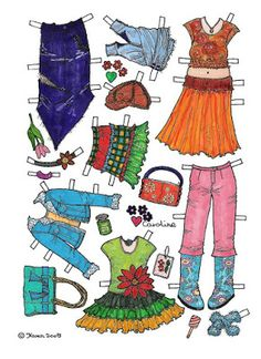 Karen`s Paper Dolls: Caroline 1-6 Paper Doll in Colours. Caroline 1-6…