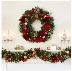 """Christmas Holiday 32"""" Pre-Lit Battery Operated Wreath Indoor or Covered Outdoor  #KS"""