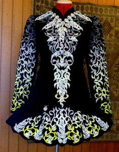 Silver, black, yellow, and blue Irish dance solo dress