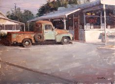 """Terry Miura - """"The Oldest Customer"""" oil on linen Automotive Art, Landscape Art, Old Things, Fine Art, Studio, Architecture, Landscapes, Cityscapes, Oil Paintings"""