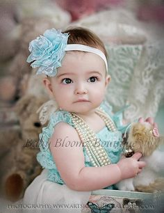 Baby Headband Aqua Lace Headband Baby girl by BabyBloomzBoutique, $4.95