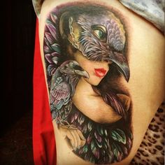 Raven girl by Sam Barber Tattoo