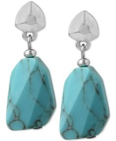 Kenneth Cole New York Silver-Tone Stone Drop Earrings