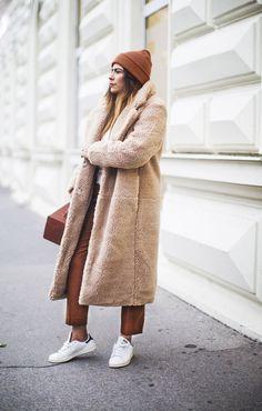 teddy coat and terracotta hues