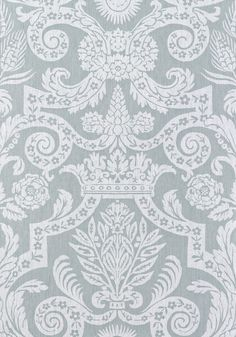 Harvard Damask #wallpaper in #silver from the Anniversary collection. #Thibaut