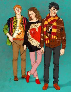 Ron, Hermione and Harry. Hype