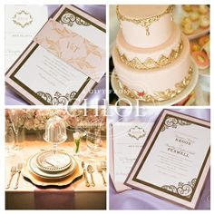 Pink & Gold Wedding Invitations - Pink & Gold Wedding Invitations & Pink & Gold Inspiration from A Gift From Chloe Boutique Invitations #pinkgold #pink #gold wedding #invitations