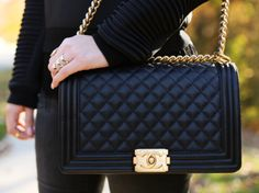 Chanel Boy Bag (Black with Gold Hardware)