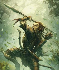 Oisil Larenduron, fighter from the Verija forest forces, attack girzos that have entered the forest.