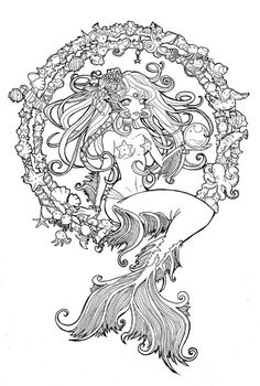 Mermaid line-art. Colored in. Instead of shells in a circle put script.