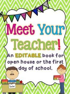 Meet Your Teacher EDITABLE Book for open house or the first day of school! Back To School Night, 1st Day Of School, Beginning Of The School Year, School Fun, School Ideas, School Stuff, Kindergarten Classroom, School Classroom, Classroom Ideas