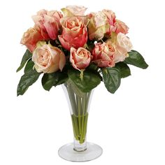 Peach Roses In Trumpet Glass Vase 14-inch Decorative Plant   Overstock.com Shopping - Great Deals on Silk Plants
