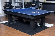 American Heritage Ping Pong Conversion Set - here's what you need to turn your pool table around Pool Table, Ping Pong Table, A Table, Table Tennis Conversion Top, Basement Inspiration, Basement Ideas, Nebraska Furniture Mart, Family Game Night, Interior Decorating