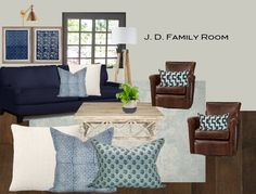 E-design For a Problematic Family Room Before and After - Classic Casual Home