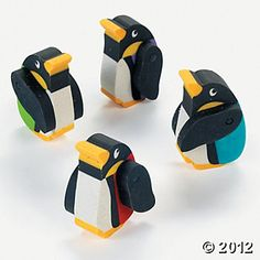 Penguin Movable Erasers - to use as game pieces