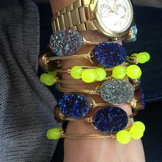 More from Bourbon and Boweties Spring collection #neon #druzy.  Don't you just love the blue and  yellow combo.