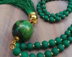 Collar borla. Collar largo perlas borla. por AllAboutEveCreations