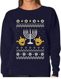 TeeStars - Funny Jewish Holidays Ugly Christmas Hanukkah Women Sweatshirt Small Navy. OUTSTANDING FABRIC QUALITY! COZY non itchy fabric WAY BETTER than a sweater!. Xmas - Hanukkah funny ugly sweatshirt. Great gift for the holiday season. SUPER FAST SHIPPING! 100% MONEY BACK GUARANTEE. Official Teestars Merchandise. 50% cotton 50% polyester. Printed in the USA.