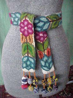 Vintage 50s 60s Hand Embroidery Wool Crewel Belt Sash