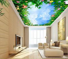 3d wallpaper custom mural non-woven 3d room wallpaper 3 d flower blue sky white clouds ceiling murals 3d wall mural wallpaper