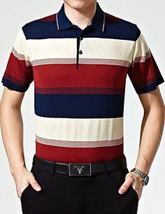 Polo De los hombres Casual/Trabajo A Rayas - Rayón/Mezcla de Lana - Manga Corta Polo Shirt, Mens Tops, Shirts, Fashion, Striped Polo Shirt, Stripes, Men's Clothing, Men, Men Styles