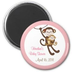 Girl Baby Monkey Jungle Baby Shower Favor Magnets