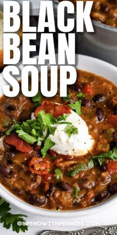 Black Bean Soup is a copycat version of the Panera soup loved by all! Enjoy a bowl of this from the comfort of your own home, topped with sour cream and cilantro! #spendwithpennies #blackbeansoup #recipe #soup #maindish #appetizer #stovetop