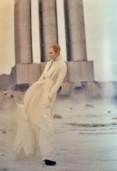 "She will be my angel, Ithiel   | Tim Walker shares his trip to space with Tilda Swinton in ""Planet Tilda"" via W STORIES by Stefano Tonchi. | tim walker w stories fashion white tilda swinton"