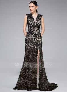 Trumpet/Mermaid Scoop Neck Sweep Train Lace Evening Dress With Beading Split Front (017041104) - JJsHouse