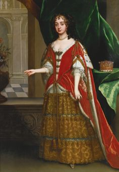 1685 Countess in robes at coronation of James II by Jacob Huysmans.  Turn-of-the-century style with mantua skirts, fontanges headdresses, and fripon curls have not arrived, at least for court wear.