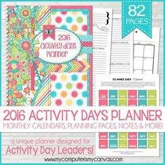 Printable 2016 PRIMARY Activity Days PLANNER and Faith in God Tracker #mycomputerismycanvas
