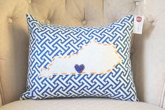 State Pillow  Kentucky Custom 16x12 by marekalaine on Etsy, $30.00
