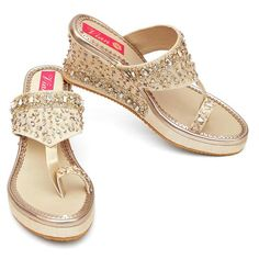 """All made to order products take 10-12 days to produce and dispatch so the shipping time frames differ from regular products. The """"have to have in your closet"""". On an ivory white base, this pair has a mix of embellishments and rhinestones, in a mix of gold and silver. The elements are closely stitched on one side and gr Gold Wedge Shoes, Gold Wedges, Bag Icon, Dupion Silk, Shoe Closet, Ivory White, Espadrilles, Footwear, Pairs"""