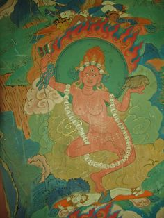 "Dakini~ (Sanskrit: ""sky dancer"") is a Tantric priestess of ancient India who ""carried the souls of the dead to the sky"". This Buddhist figure is particularly upheld in Tibetan Buddhism. The dakini is a female being of generally volatile temperament, who acts as a muse for spiritual practice."