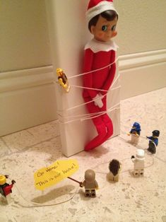 """Elf on the Shelf"" ideas - love the Lego one!"